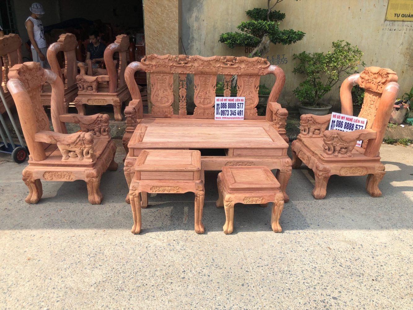 Bộ Ghế Minh Quốc Voi 6 Món Cột 12 Gỗ Hương Đá