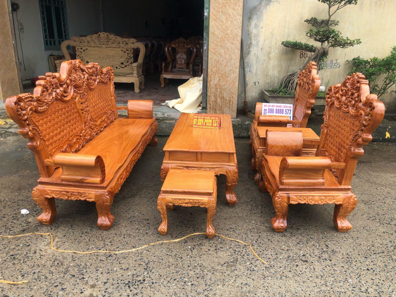 Bộ bàn ghế luois hoàng gia gỗ gõ đỏ