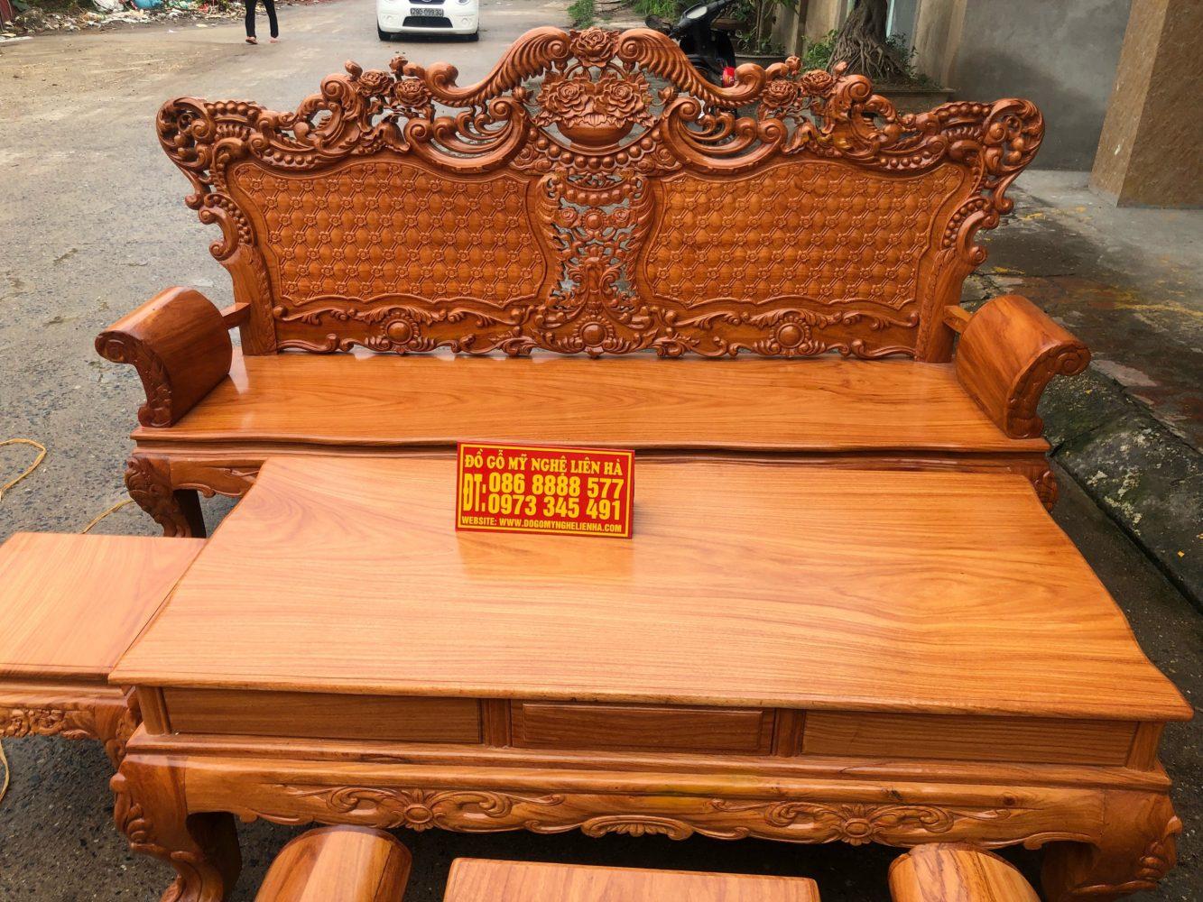 Đoản dài bộ bàn ghế luois hoàng gia gỗ gõ đỏ