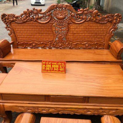 Đoản dài bộ bàn ghế louis hoàng gia gỗ gõ đỏ