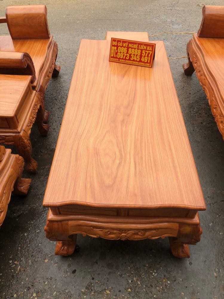 Mặt bàn bộ bàn ghế louis hoàng gia gỗ gõ đỏ