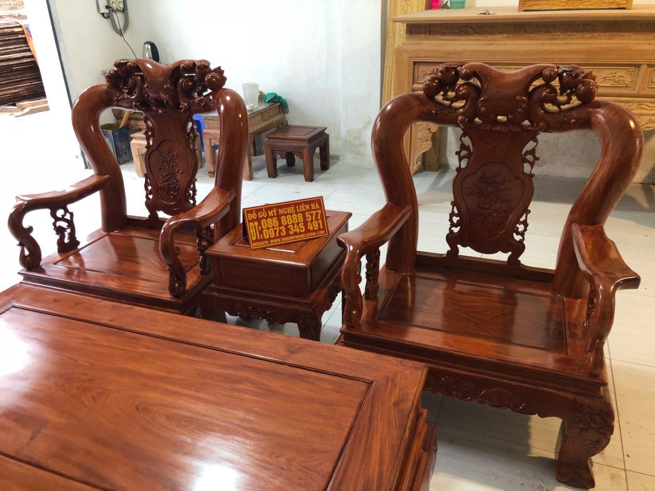 Ghế đơn và mặt bàn bộ minh quốc đào chim 6 món cột 12 gỗ hương đá