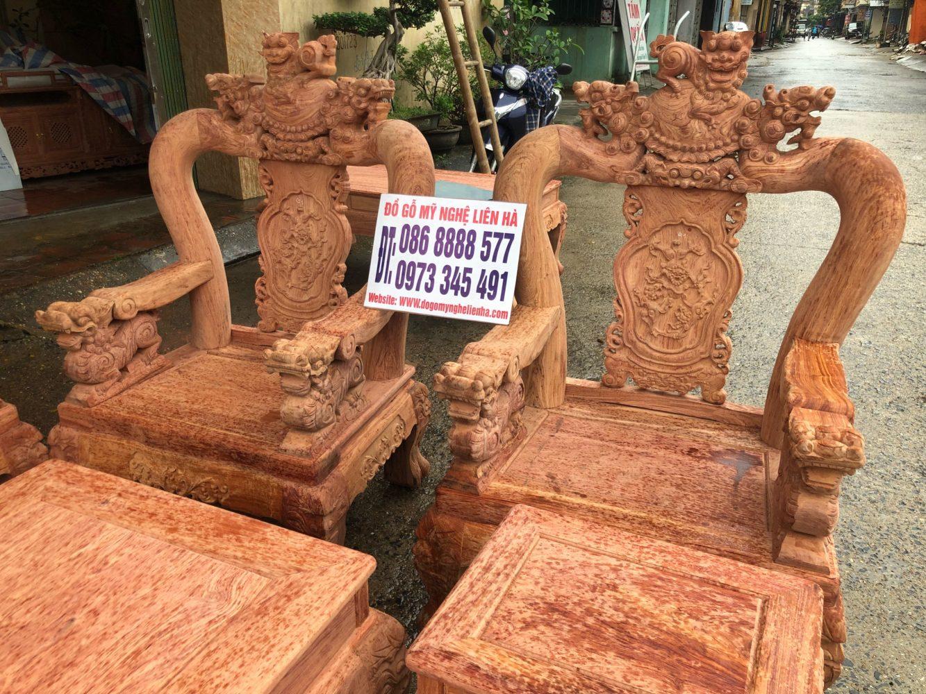 Ghế đơn bộ minh quốc nghê 3 đầu 10 món cột 12 vách tam sư gỗ hương đá