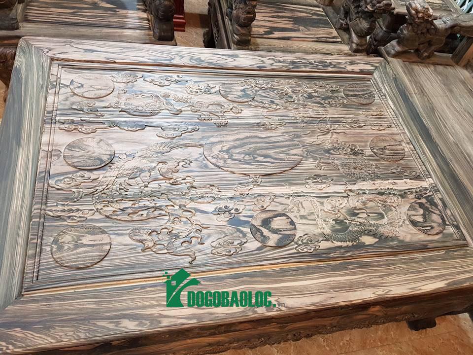 Mặt bàn bộ Minh Quốc Nghê Phượng Giả Bảo Đỉnh 8 món cột 12 Gỗ Mun Hoa