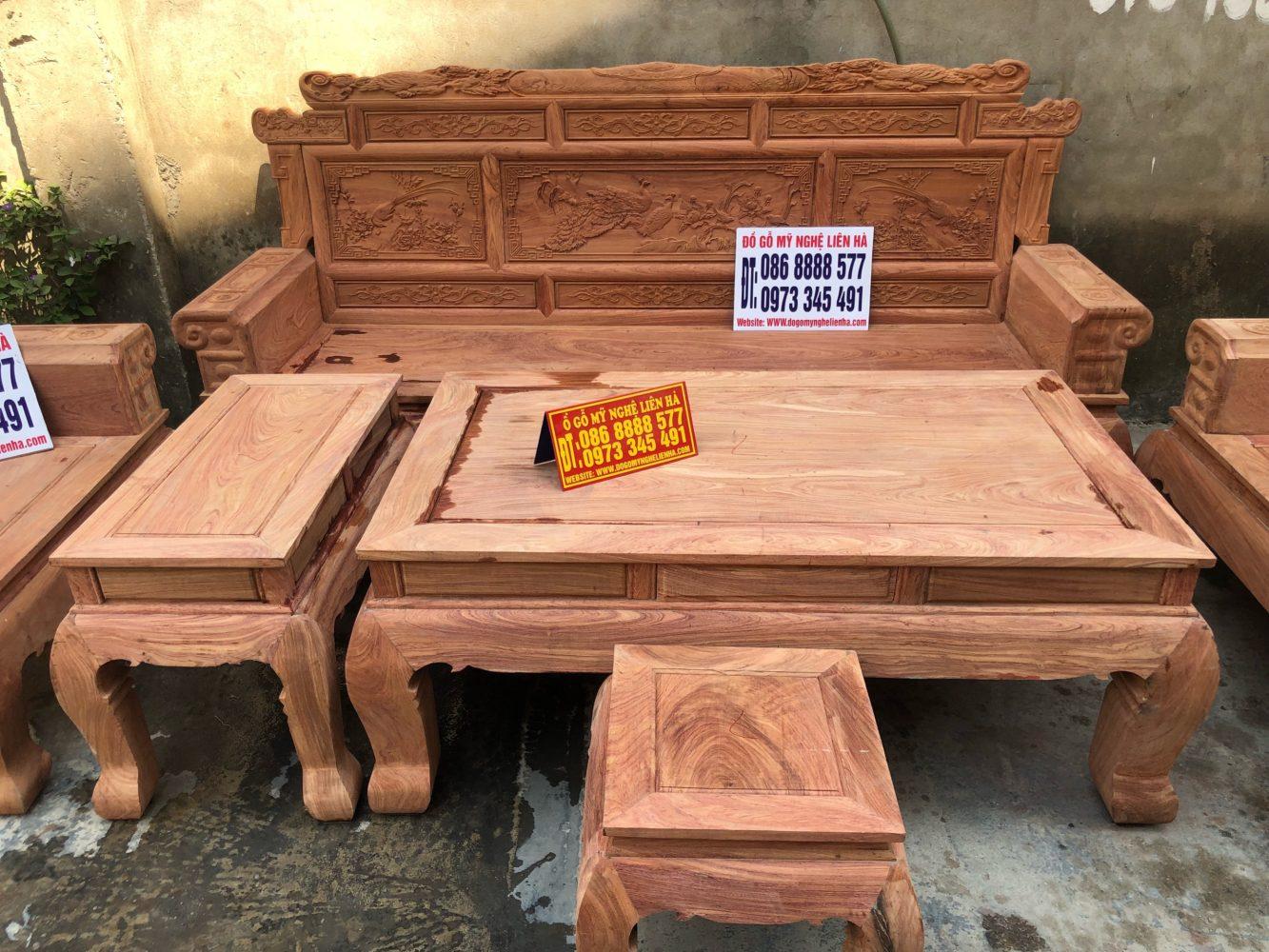 Đoản dài bộ bàn ghế phù dung chân 12 6 món gỗ hương đá