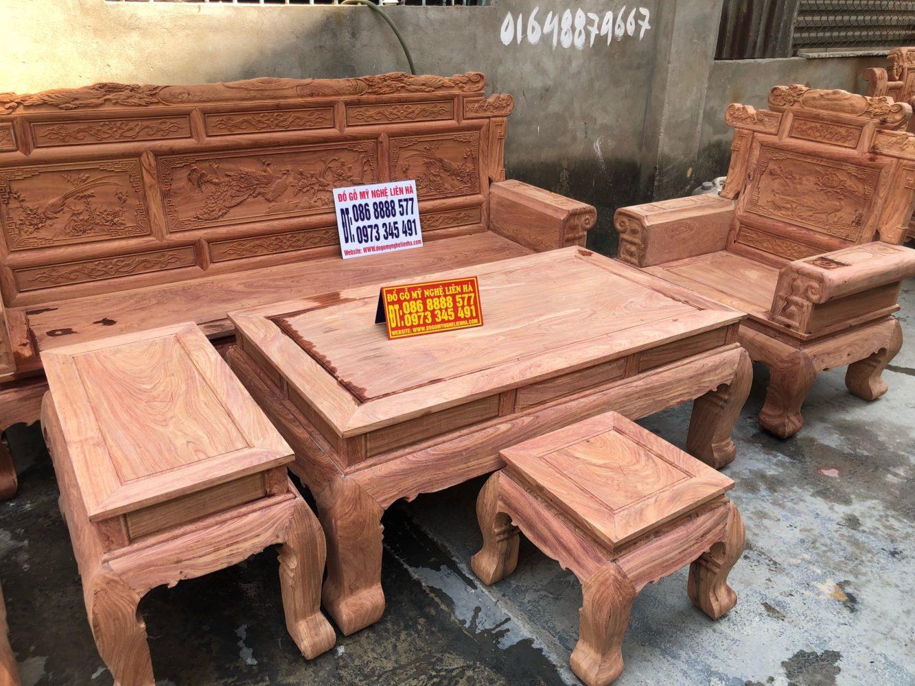 Bộ bàn ghế phù dung chân 12 6 món gỗ hương đá