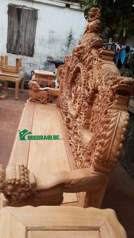 đoản dài bộ bàn ghế rồng bảo đỉnh 12 món gỗ gõ đỏ
