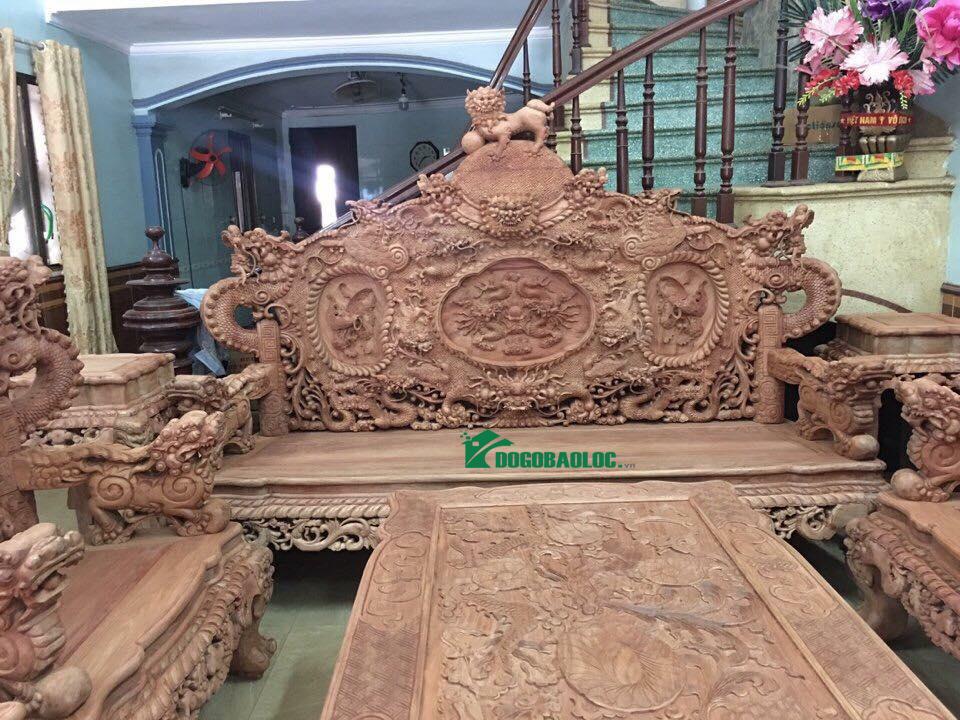 đoản dài bộ bàn ghế rồng bảo đỉnh 12 món gỗ hương lào