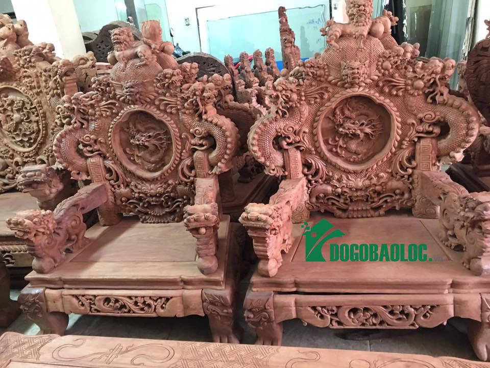 ghế đơn bộ bàn ghế rồng bảo đỉnh 12 món gỗ hương lào