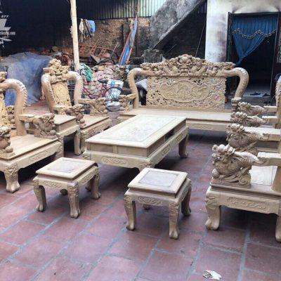Bộ ghế rồng mai kim tiền 10 món gỗ cẩm vàng