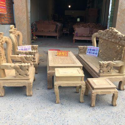 Bộ ghế rồng mai kim tiền 6 món gỗ cẩm vàng