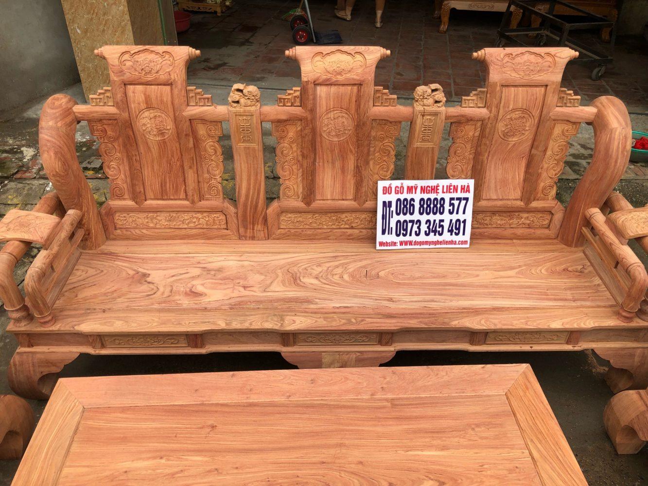 đoản dài bộ ghế tần thủy hoàng 6 món cột 12 gô hương đá
