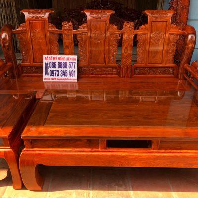 đoản dài bộ ghế tần thủy hoàng 6 món cột 12 gỗ hương vân