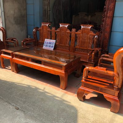 Bộ ghế tần thủy hoàng 6 món cột 12 gỗ hương vân