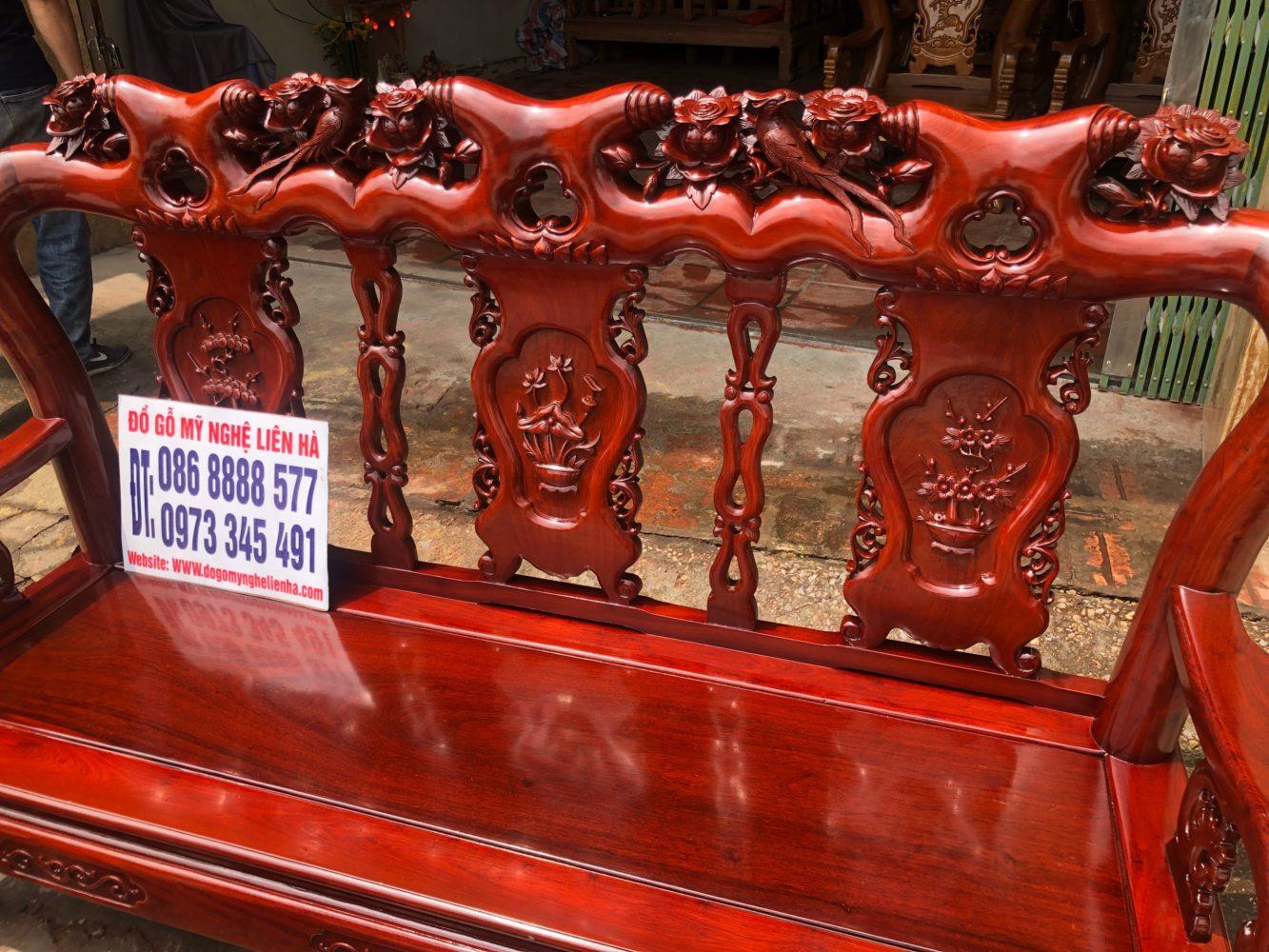đoản dài bộ bàn ghế minh quốc Hồng Trĩ 6 món cột 10 gỗ hương lào