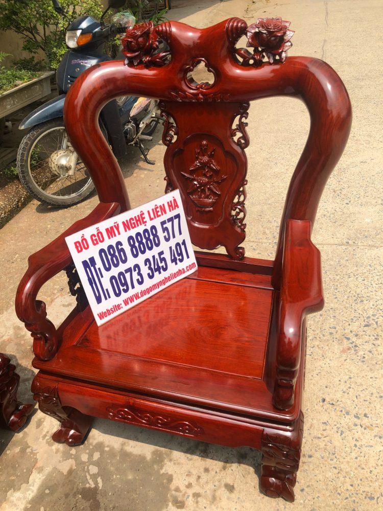 ghế đơn bộ bàn ghế minh quốc Hồng Trĩ 6 món cột 10 gỗ hương lào