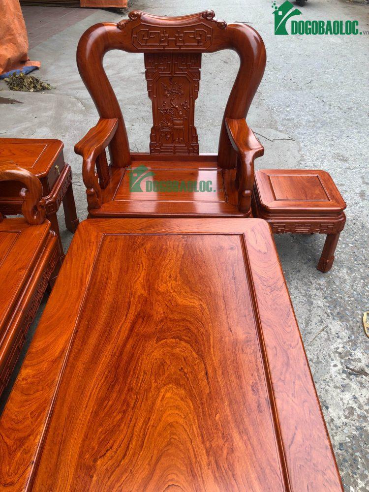 ghế đơn bộ minh quốc triện 6 món cột 12 gỗ hương đá