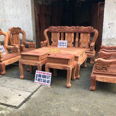 Bộ ghế minh quốc voi 8 món cột 12 gỗ hương lào VIP