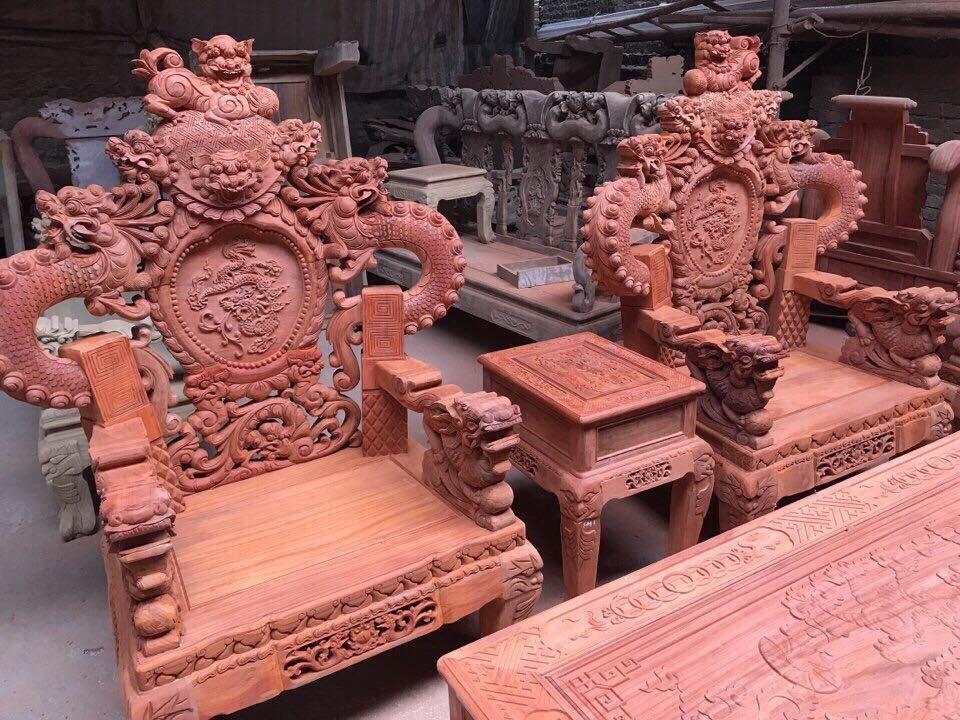 ghế đơn bộ Rồng khuỳnh Giả Bảo Đỉnh 10 món gỗ hương đỏ nam phi