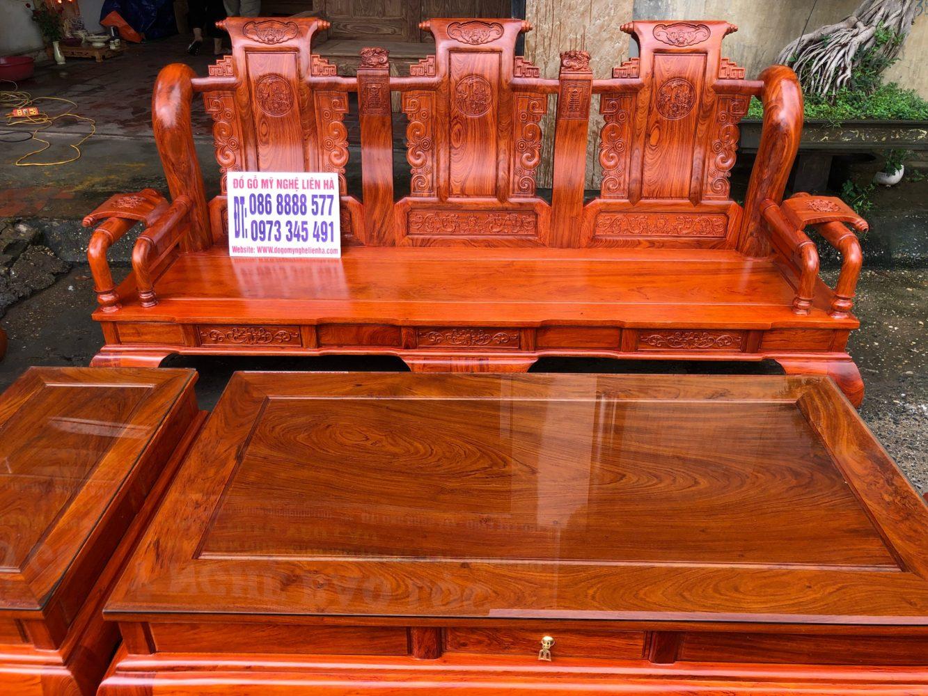 đoản dài bộ ghế tần thủy hoàng 7 món cột 12 bàn đục gỗ hương đá VIP