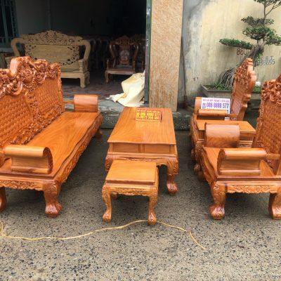 Bộ bàn ghế louis hoàng gia gỗ gõ đỏ