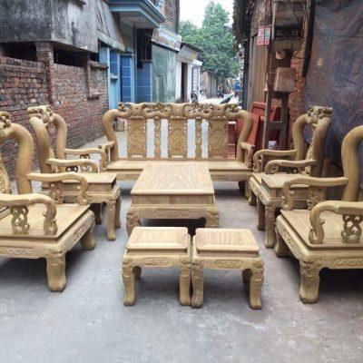 Bộ minh quốc đào chim 10 món cột 12 gỗ cẩm vàng