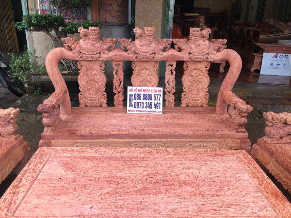 Đoản dài bộ minh quốc nghê 3 đầu 10 món cột 12 vách tam sư gỗ hương đá