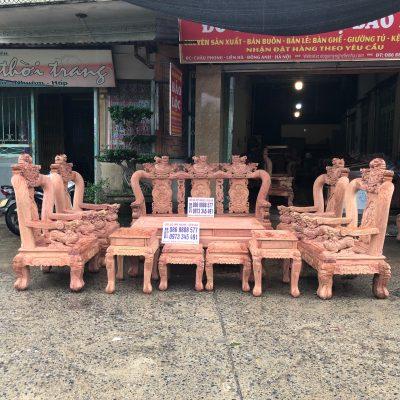 Bộ minh quốc nghê 3 đầu 10 món cột 12 vách tam sư gỗ hương đá