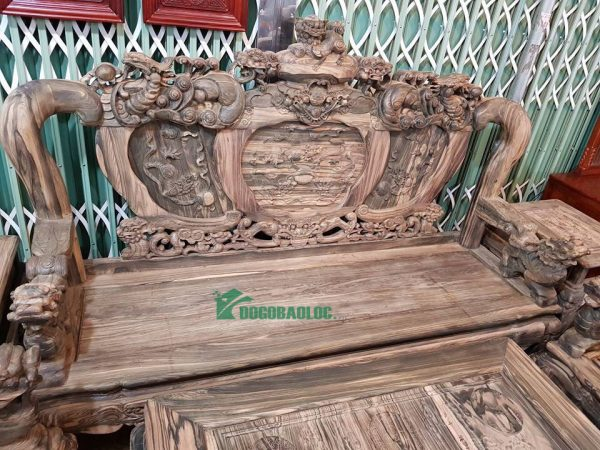 Đoản dài bộ Minh Quốc Nghê Phượng Giả Bảo Đỉnh 8 món cột 12 Gỗ Mun Hoa