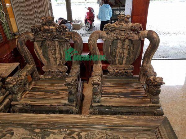 Ghế đơn bộ Minh Quốc Nghê Phượng Giả Bảo Đỉnh 8 món cột 12 Gỗ Mun Hoa