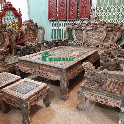 Bộ Minh Quốc Nghê Phượng Giả Bảo Đỉnh 8 món cột 12 Gỗ Mun Hoa