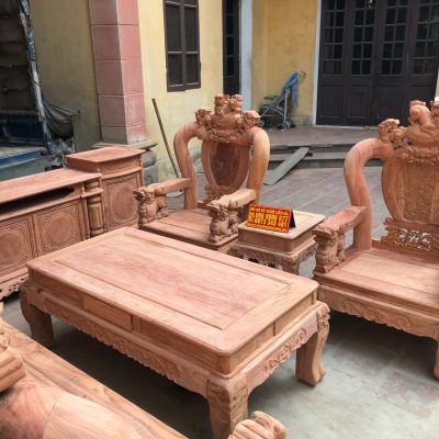 Bộ minh quốc nghê rồng 6 món cột 12 vách tam sư gỗ hương đá