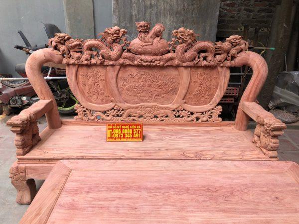 Đoản dài bộ minh quốc nghê rồng 6 món cột 12 vách tam sư gỗ hương đá