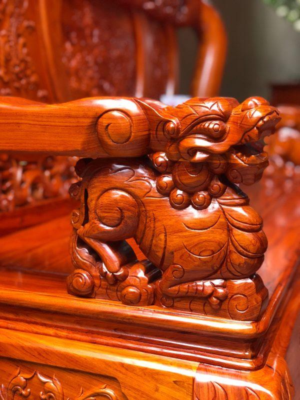 Tay đục bộ minh quốc nghê rồng 6 món cột 12 vách tam sư gỗ hương đá