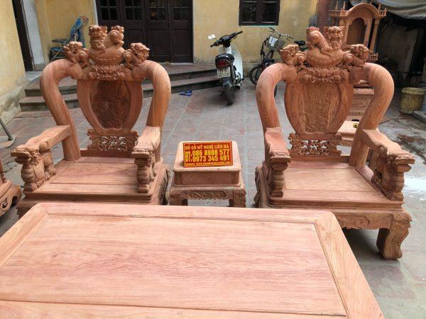 Ghế đơn và mặt bàn bộ minh quốc nghê rồng 6 món cột 12 vách tam sư gỗ hương đá