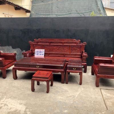 Bộ bàn ghế phù dung chân 10 6 món gỗ hương đá