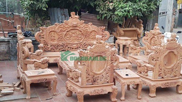 bộ bàn ghế rồng bảo đỉnh 12 món gỗ gõ đỏ