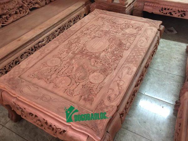 mặt bàn bộ bàn ghế rồng bảo đỉnh 12 món gỗ hương lào