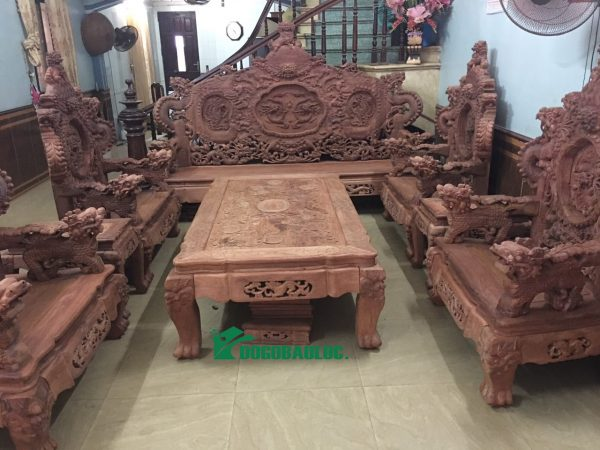 bộ bàn ghế rồng bảo đỉnh 12 món gỗ hương lào
