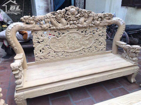 đoản dài bộ ghế rồng mai kim tiền 10 món gỗ cẩm vàng