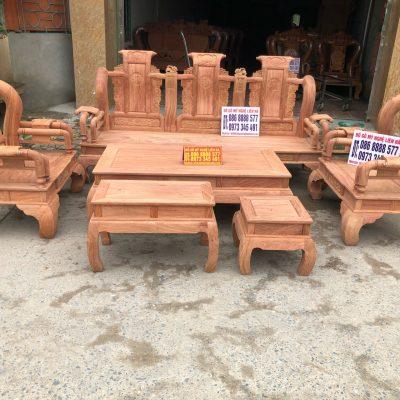 Bộ ghế tần thủy hoàng 6 món cột 12 gô hương đá
