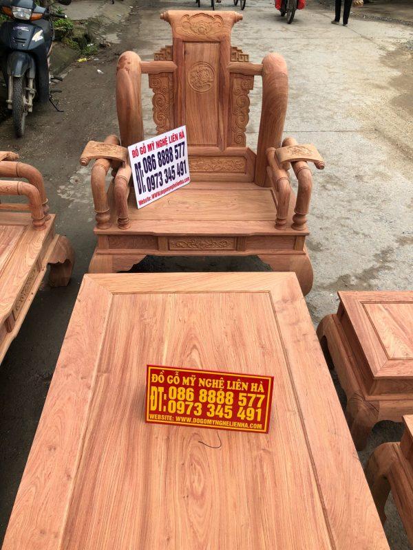 ghế đơn bộ ghế tần thủy hoàng 6 món cột 12 gô hương đá