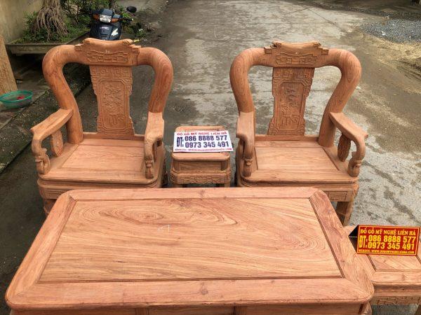 Bộ minh quốc triện 6 món cột 12 gỗ hương đá