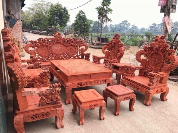 Bộ Rồng khuỳnh Giả Bảo Đỉnh 10 món gỗ hương đỏ nam phi