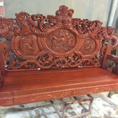 đoản dài bộ Rồng khuỳnh Giả Bảo Đỉnh 6 món gỗ hương đỏ nam phi