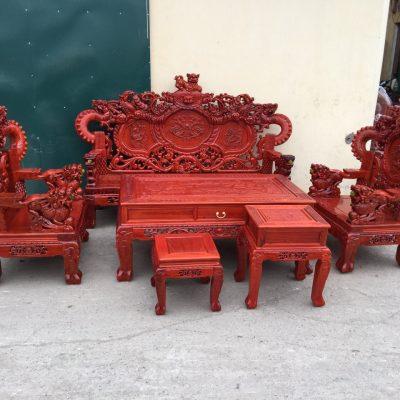 Bộ Rồng khuỳnh Giả Bảo Đỉnh 6 món gỗ hương đỏ nam phi