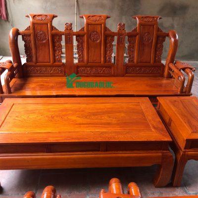 đoản dài bộ ghế tần thủy hoàng 6 món cột 10 bàn đục gỗ hương đá VIP