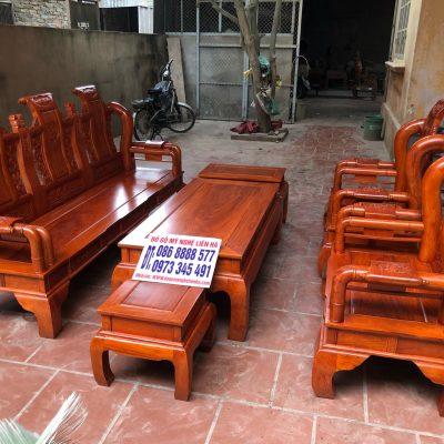 Bộ ghế tần thủy hoàng 6 món cột 10 bàn đục gỗ hương đá VIP