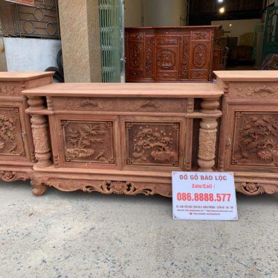 Kệ Tivi Cột Nho Gỗ Hương Đỏ Lào Xịn. Dài 2m4 Cao 88cm Sâu 54cm