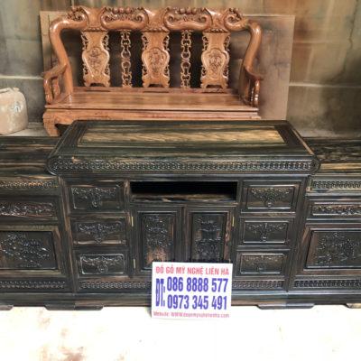 Kệ Tivi Kiểu Mõ Đồng Tiền 2m2 gỗ Mun Hoa